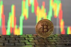Конец-вверх Bitcoin и диаграмма роста и падения в цены стоковое фото