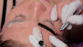 Конец-вверх cosmetologist делая microblading процедуру Постоянный макияж Постоянный татуировать бровей сток-видео