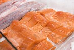 Конец-вверх salmon филе Стоковая Фотография