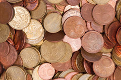 Конец взгляда сверху монеток евро Стоковое Изображение