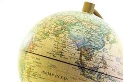 Конец глобуса вверх, Азия в прошлом Стоковые Фотографии RF