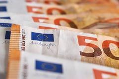 конец денег 50 банкнот евро счетов евро вверх по горизонтальной Стоковые Фотографии RF