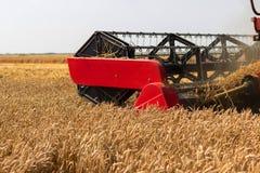 Конец жатки зернокомбайна вверх Жатка зернокомбайна жать пшеницу Зерно жать зернокомбайн позволяет gps компьютера зернокомбайнов  Стоковое Фото