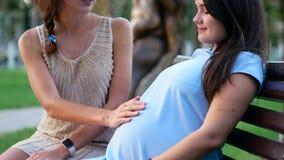 Конец живота ` s друга женщины касающий беременный вверх сток-видео