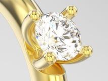 конец иллюстрации 3D вверх по engag пасьянса желтого золота традиционному Стоковое фото RF