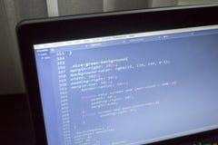 Конец кода сети дизайнерский CSS3/LESS/SASS вверх Стоковая Фотография RF