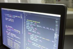 Конец кода сети дизайнерский CSS3/LESS/SASS вверх Стоковая Фотография