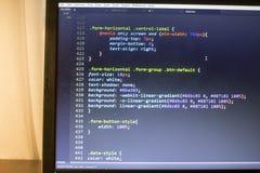 Конец кода сети дизайнерский CSS3/LESS/SASS вверх Стоковые Фото