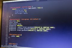 Конец кода сети дизайнерский CSS3/LESS/SASS вверх Стоковые Изображения