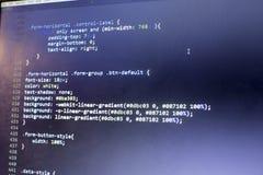 Конец кода сети дизайнерский CSS3/LESS/SASS вверх Стоковые Изображения RF