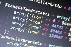 Конец кода PHP веб-разработчик вверх Детали собрания траверсируя код Предпосылка абстрактной информационной технологии современна Стоковое Изображение RF