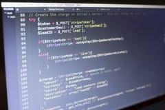 Конец кода PHP веб-разработчик вверх Поручая клиент используя нашивку API Онлайн обрабатывать оплат стоковые фото
