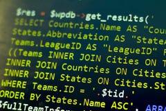 Конец кода PHP веб-разработчик вверх Съемка макроса осложненного запроса SQL к базе данных Стоковые Фото