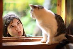 Конец кота подростка вверх по фото с котом Стоковое Изображение RF