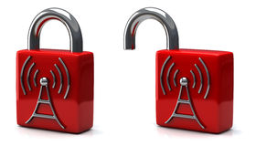 Раскройте и закройте padlock с беспроволочной иконой, 3d Стоковая Фотография RF