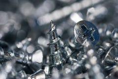 Конец макроса винтов серебра вверх свирль картины конструкции предпосылки цветастая Стоковая Фотография