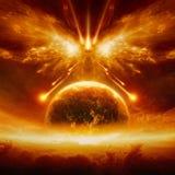 Конец мира, полного разрушения земли планеты иллюстрация вектора