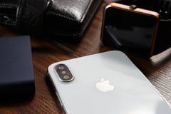 Конец нового smartphone Iphone x модельный вверх Стоковые Изображения RF