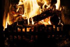 Конец огня журнала вверх Стоковое Изображение