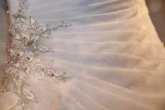 Конец платья свадьбы Organza вверх Стоковые Фотографии RF