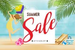 Конец скидки продажи лета знамени сезона на предпосылке пляжа положения красивой Может использованный для подарочного сертификата Стоковые Фотографии RF