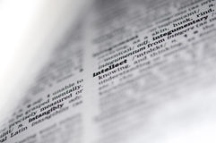 Конец словаря вверх слова, интеллекта Стоковые Фотографии RF