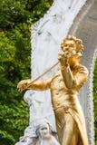 Конец сына Johann Strauss статуи вверх в Stadtpark Стоковые Изображения