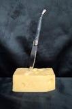 конец сыра один швейцарец квадрата части вверх Стоковое Изображение RF