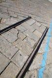 Конец следов поезда на портовом районе Триеста, Италии Стоковые Изображения RF