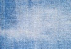 Конец ткани ткани голубых джинсов Стоковая Фотография RF