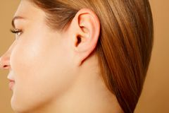 Конец уха ` s женщины вверх, концепция анатомии Стоковые Изображения