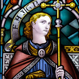 Конец цветного стекла вверх по b в церков святого креста Стоковая Фотография RF