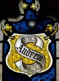 Конец цветного стекла церков Сент-Эндрюса вверх по Эндрью Стоковые Изображения RF