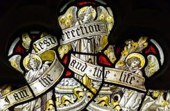 Конец цветного стекла церков Сент-Эндрюса вверх я Стоковое Изображение RF
