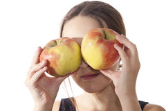 конец яблок большой eyes девушка она Стоковые Фото
