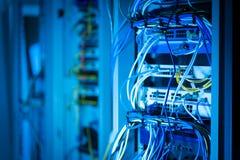 Конец lan кабеля эпицентра деятельности сети вверх Стоковое фото RF
