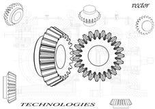 Коническое зубчатое колесо на белой предпосылке иллюстрация вектора