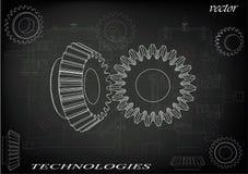 Коническое зубчатое колесо на черной предпосылке бесплатная иллюстрация