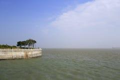 конкретная морская дамба Стоковые Изображения RF