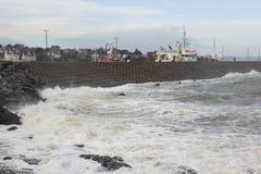 Конкретная структура сота seaward стороны северной пристани в графстве Бангора вниз в Северной Ирландии быть поколоченным du Стоковое Фото