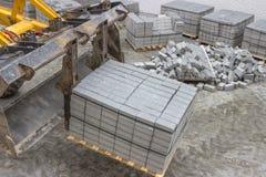 Конкретные камни на мостоваая 3 тротуара Стоковая Фотография