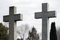 2 конкретных креста против неба и деревьев Стоковое Изображение