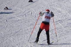 Конкуренции в катаясь на лыжах погоде зимы гонки лыжи стоковое изображение rf