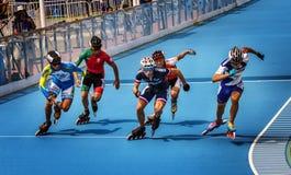 Конкуренция кататься на коньках ролика стоковые фотографии rf