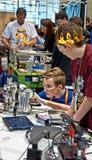 Конкуренция робототехники положения предназначенная для подростков Стоковое фото RF