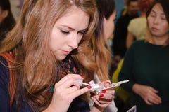 Конкуренция стилизаторов ногтя в Казахстане astana 10-ое ноября 2017 Стоковая Фотография