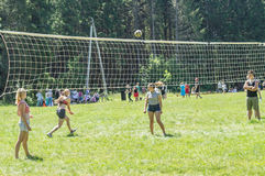 Конкуренция для волейбола дилетанта в зоне Kaluga в России Стоковое фото RF