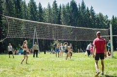 Конкуренция для волейбола дилетанта в зоне Kaluga в России Стоковая Фотография RF