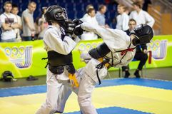Конкуренция Kobudo между мальчиками Стоковое Изображение
