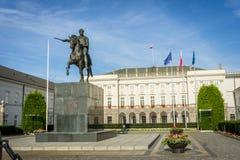 Конноспортивная статуя принца Jozef Poniatowski, президентского дворца в Варшаве Стоковое Изображение